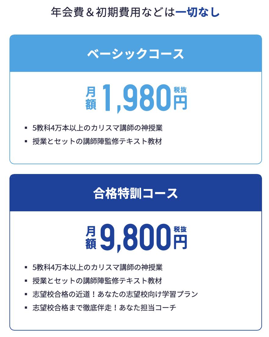 スタディサプリ 合格特訓コースの料金は月額9,800円(税抜き)
